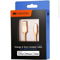 CANYON CNS-MFIC3GO Braided USB to lightning cable Златист кабел за iPhone