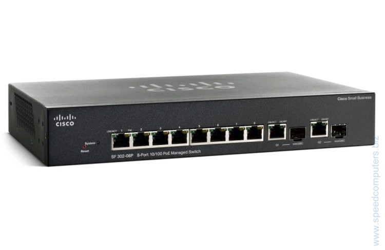 Комутатор Cisco SF 302-08P 8-port 10/100 PoE Managed Switch артикул SRW208P-K9-EU