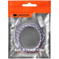 CANYON Braided USB to lightning cable Лилав кабел за iPhone