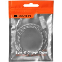 CANYON Braided USB to lightning cable Тъмно сив кабел за iPhone